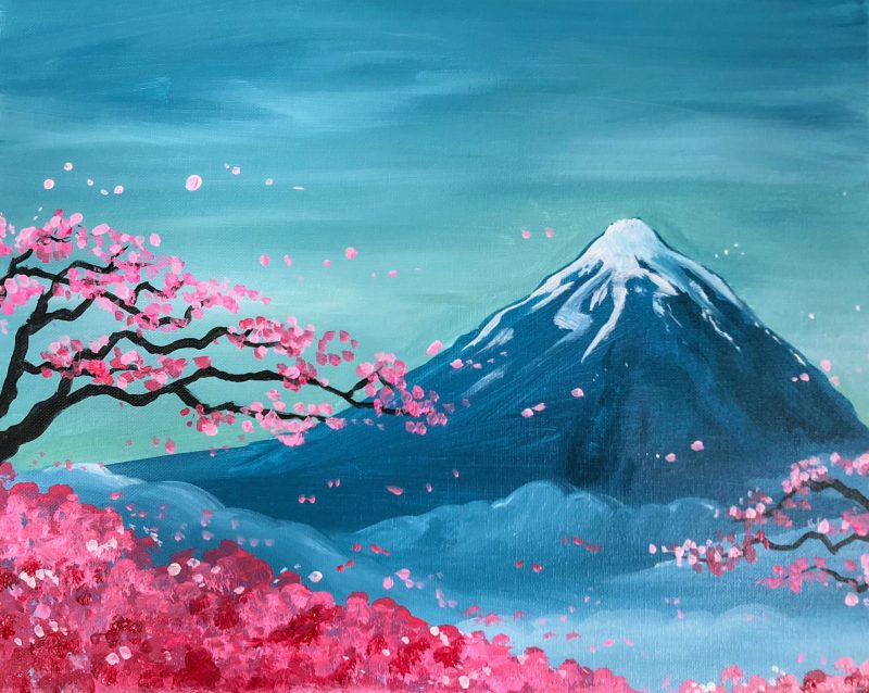 Fuji Blossoms | The Loaded Brush Paint & Sip | loadedbrushpdx.com