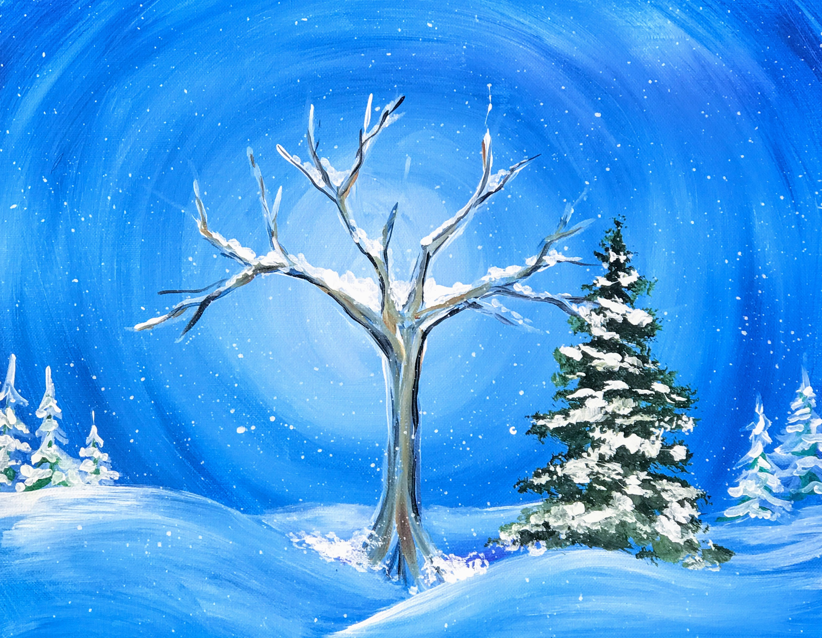 Lonely Winter Landscape | The Loaded Brush Paint & Sip Classes | loadedbrushpdx.com