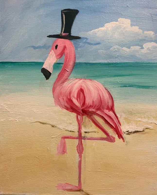 Fancy Flamingo | The Loaded Brush Paint & Sip Classes | loadedbrushpdx.com
